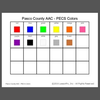 Pasco County AAC - PECS Colors