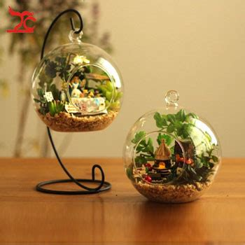 Hanging Clear Glass Ball Air Plant Terrarium With Metal